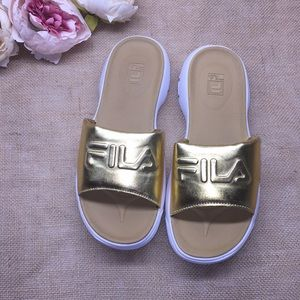 Fila Metallic Gold Slides 9M